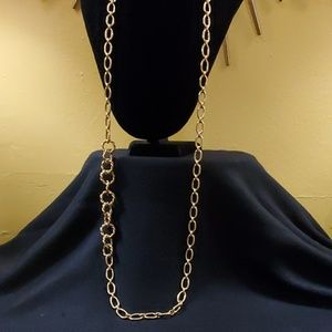 Ann Taylor Gold Metal Rope Chainlink Necklace #385
